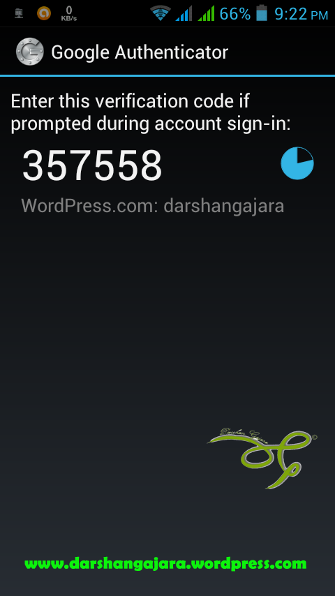 Screenshot of a Google Authenticator App