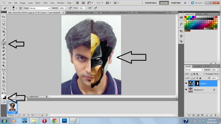 Select Brush Tool, change foreground color to White & start applying it on the image