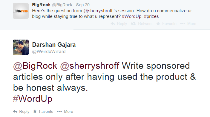 Tweet about Sherry's session