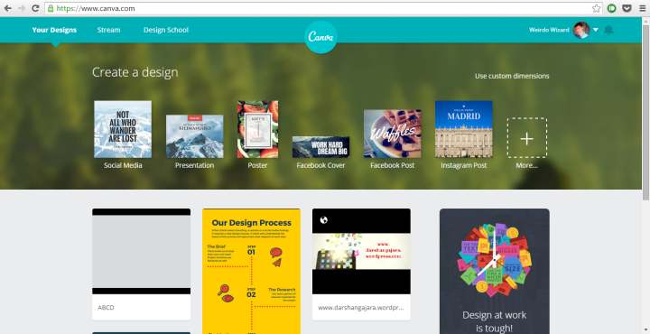 Canva Dashboard Screen