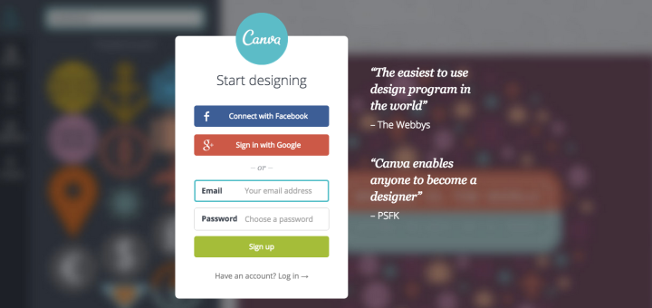 Canva Sign Up Screen