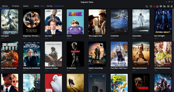 Popcorn Time Dashboard