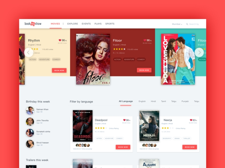 Movie Section UI for BookMyShow