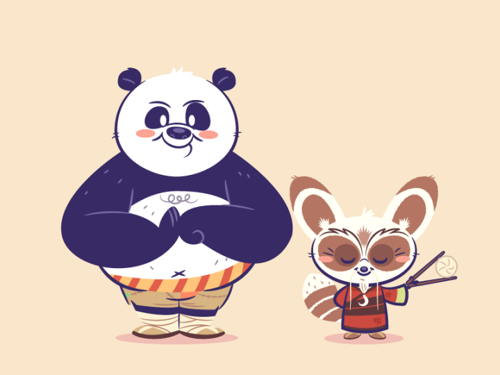 Lil BFFs – Po and Master Shifu by Dennis Salvatier