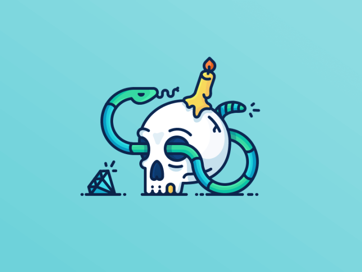 Skull-Snake Illustration by Justas Galaburda